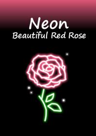 Neon Beautiful Red Rose.