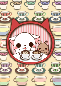 The white cat Milly and Mel!!2(Tea time)